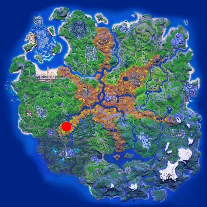 Mapa de ubicación de anomalías del bosque llorando de Fortnite
