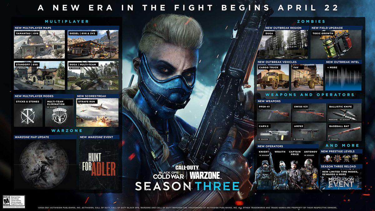 La hoja de ruta del plan de contenido para la temporada 3 de Call of Duty: Black Ops Cold War y Warzone