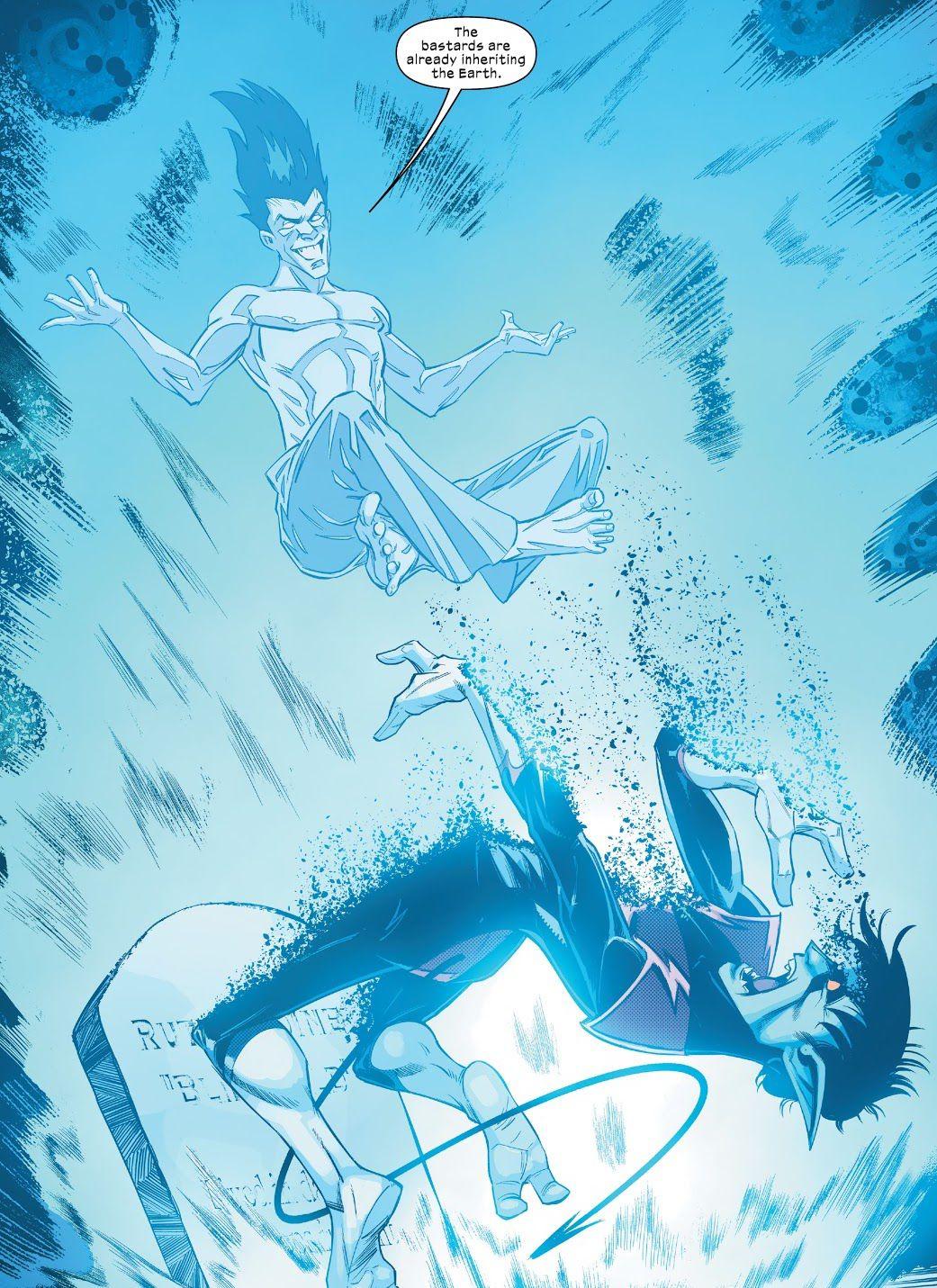 Legion levita sobre Nightcrawler mientras transforma el cuerpo de este último en átomos en Way of X # 1, Marvel Comics (2021).