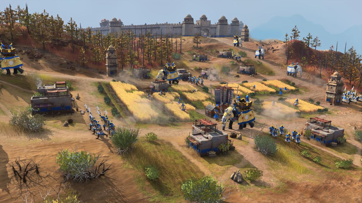 Un ejército del Sultanato de Delhi en Age of Empires 4 con elefantes de guerra