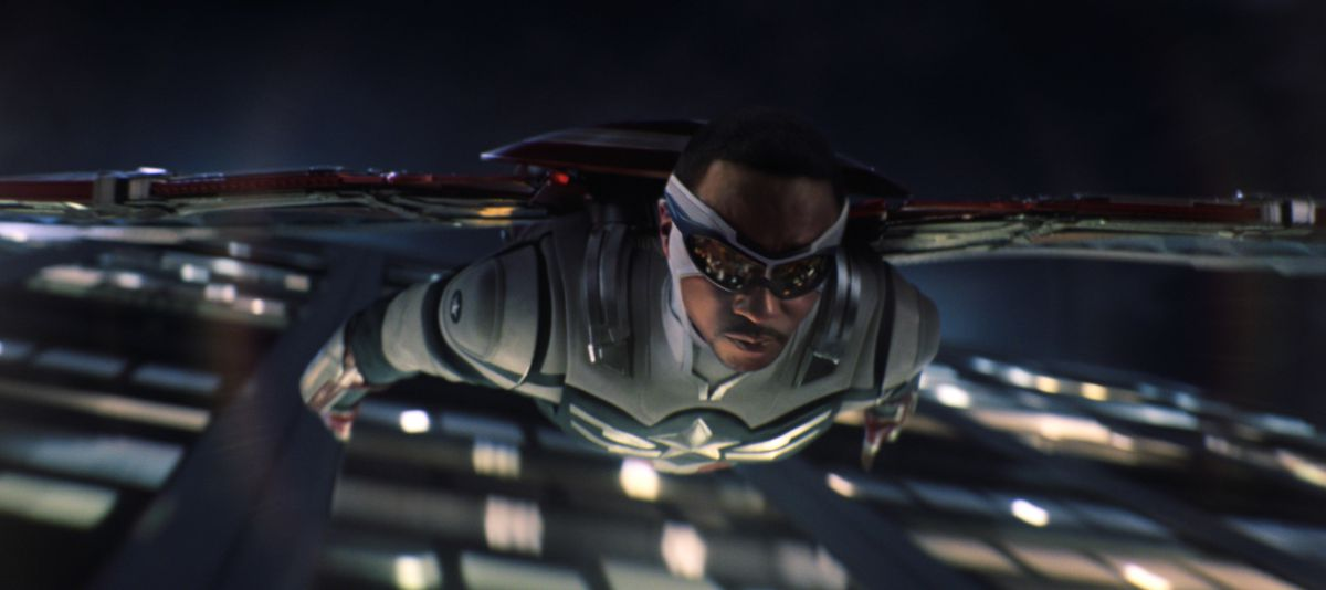 Anthony Mackie soaring into action as Sam Wilson, the new Captain America.