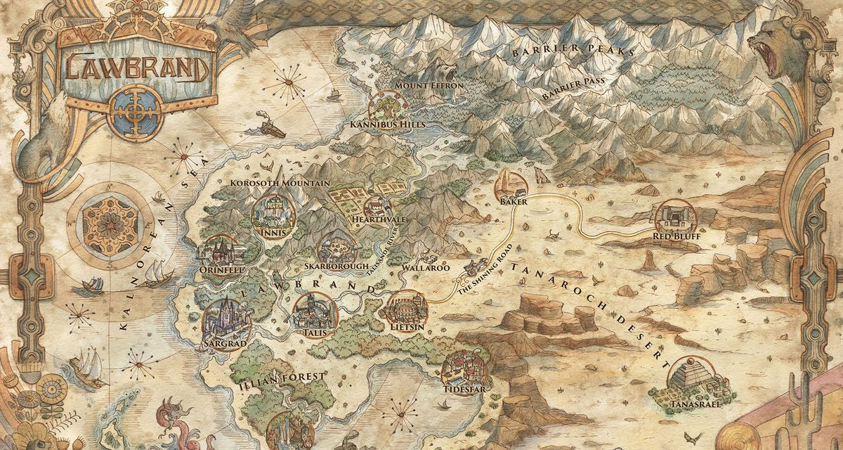 A world map of the area of Lawbrand, rendered as if on tan parchment.