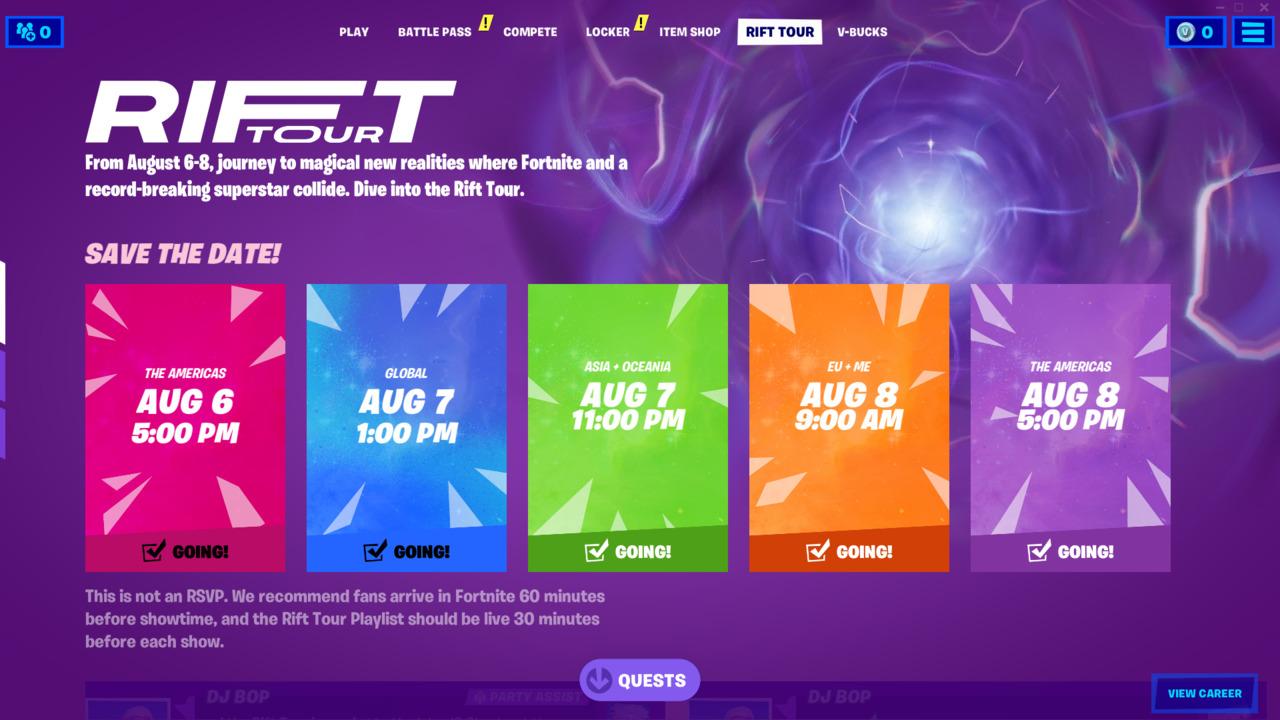 Plan de viaje de Fortnite Rift