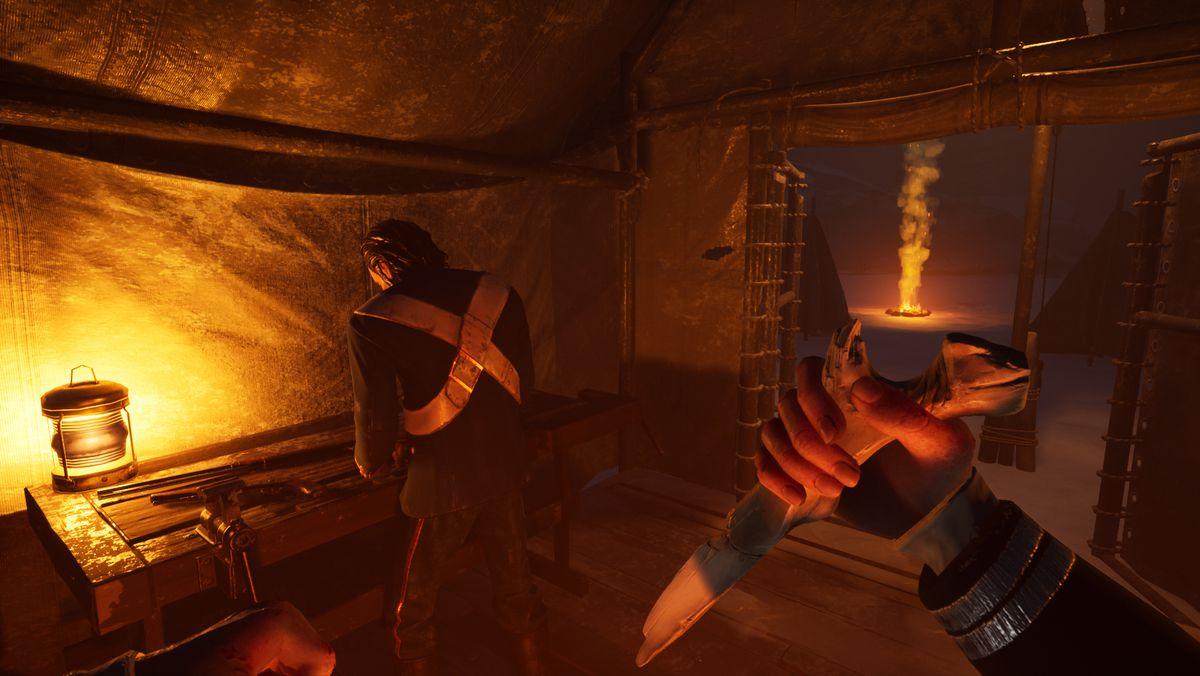 Un jugador a punto de apuñalar a otro jugador con un cuchillo de hueso en Dread Hunger
