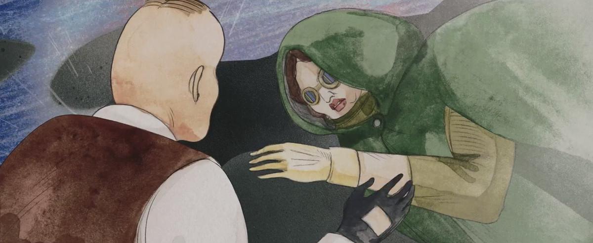 Mujer herida vestida con una capa verde y anteojos sentada bajo la lluvia mientras su rival la mira en Cryptozoo
