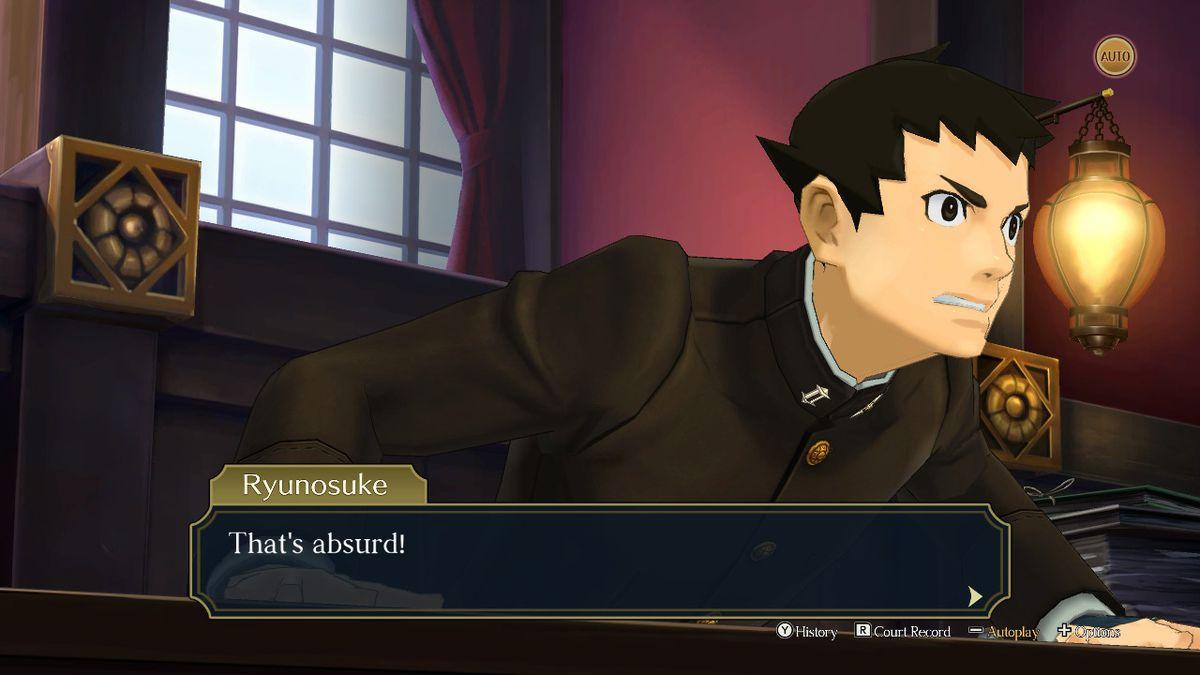 """Ryunosuke, el protagonista de The Great Ace Attorney Chronicles, exclama: """"¡Esto es absurdo!  »Durante una escena de la corte"""