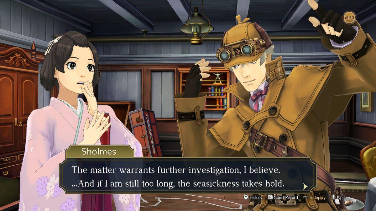 Susato (izquierda) jadea en respuesta a Herlock Sholmes (derecha) en The Great Ace Attorney Chronicles