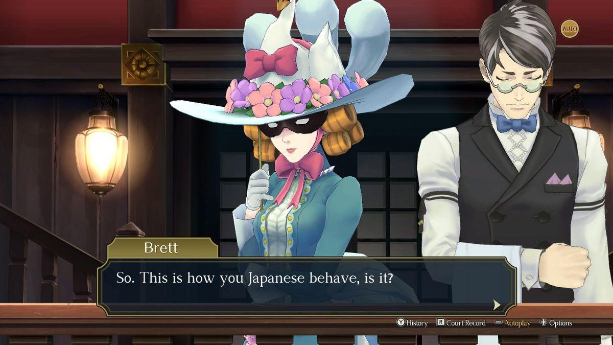 """Jezaille Brett, una inglesa en The Great Ace Attorney Chronicles, aborda a Ryunosuke en la sala del tribunal: """"Así es como se comportan ustedes, los japoneses, ¿no?"""