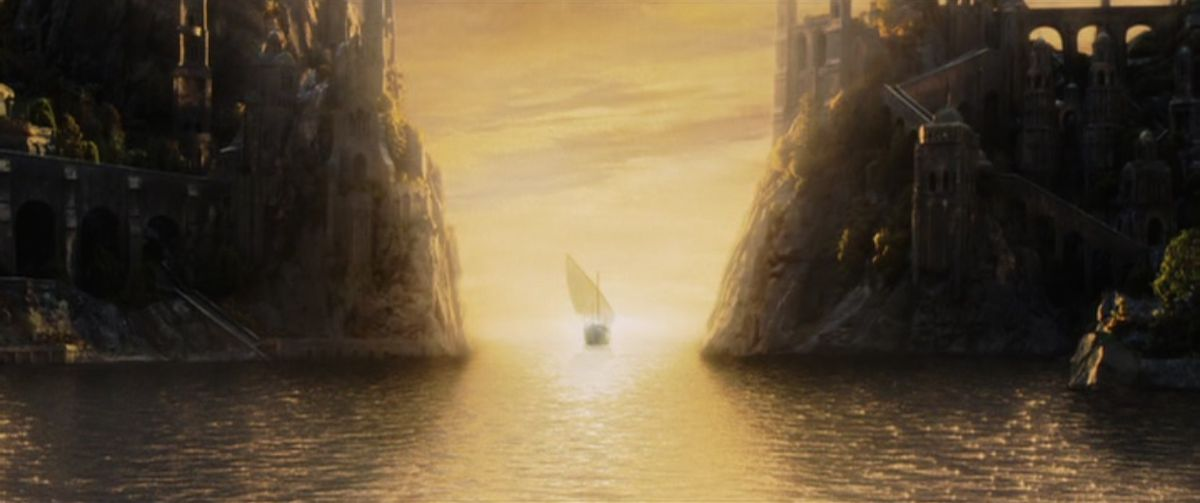 A boat sails west out of Middle-earth in The Return of the King.