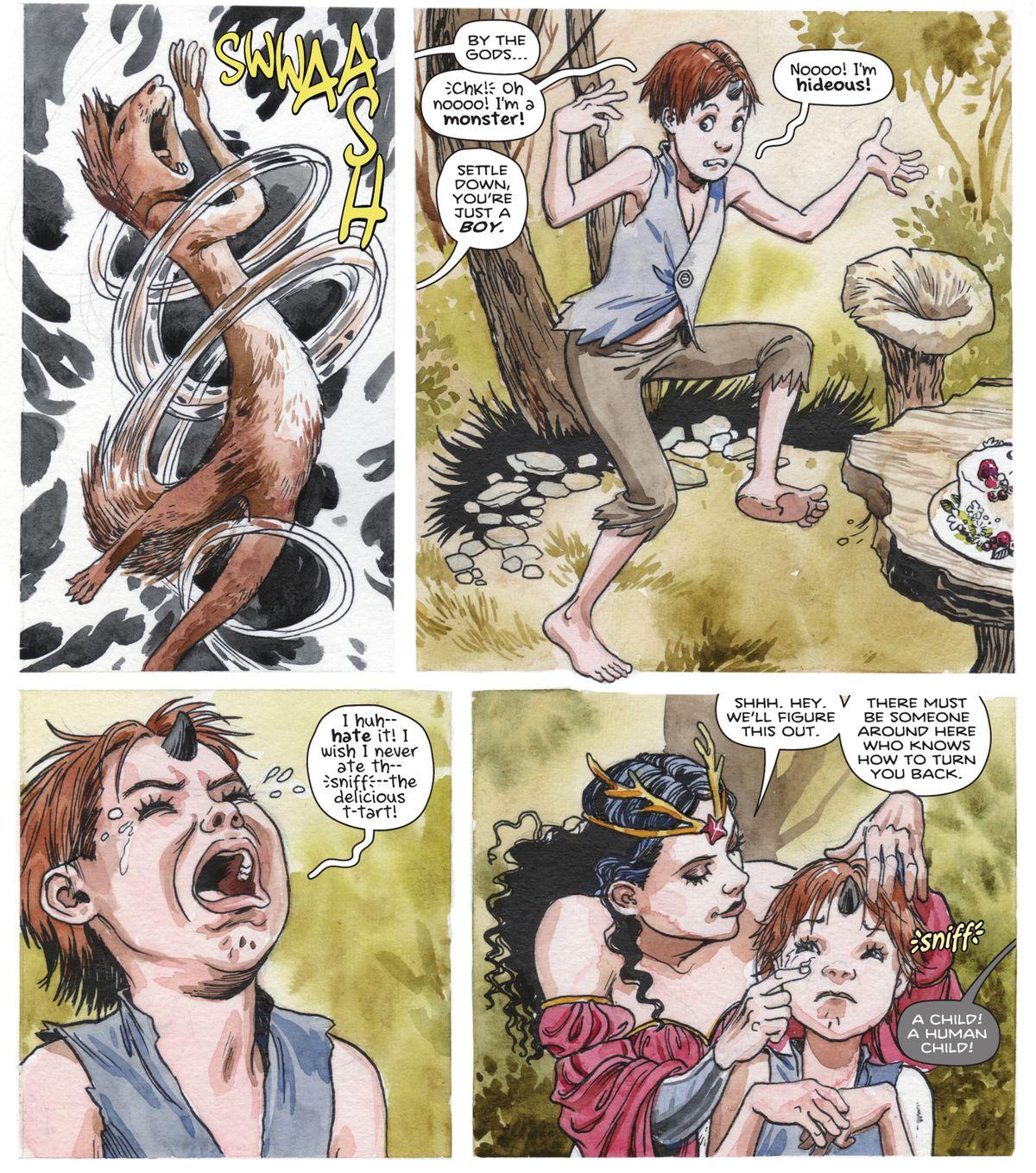 """El dios ardilla Ratatoskr aúlla de ira después de ser transformado en un joven humano.  """"Ponte cómoda"""", le dijo Wonder Woman, """"eres solo un niño.  """"¡Nooooon!  Él gimió,"""
