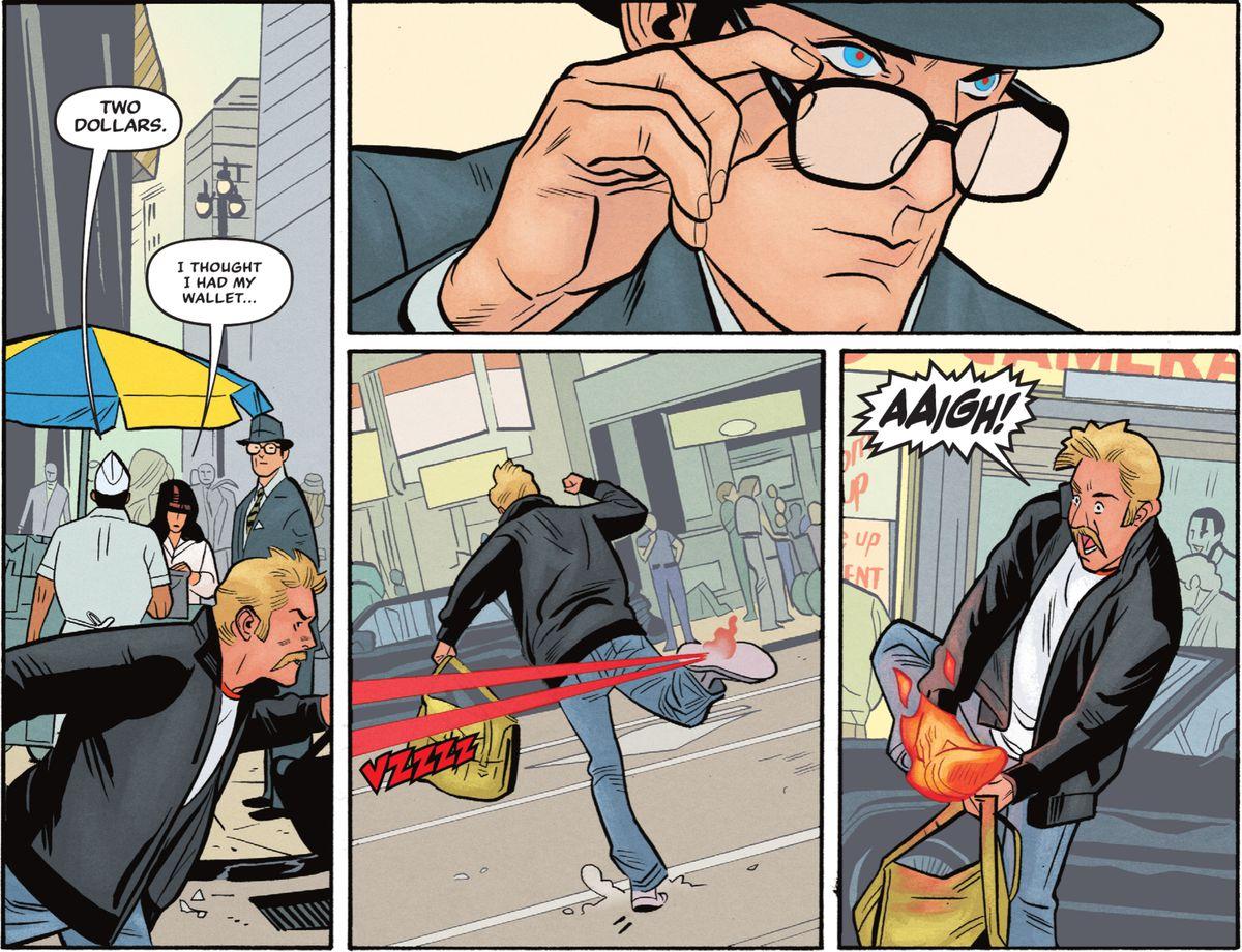 Clark Kent se baja las gafas como lo hace Christopher Reeves en las películas y usa su visión láser para prender fuego al zapato de un ladrón de bolsos fugitivo en Superman '78 # 1 (2021).