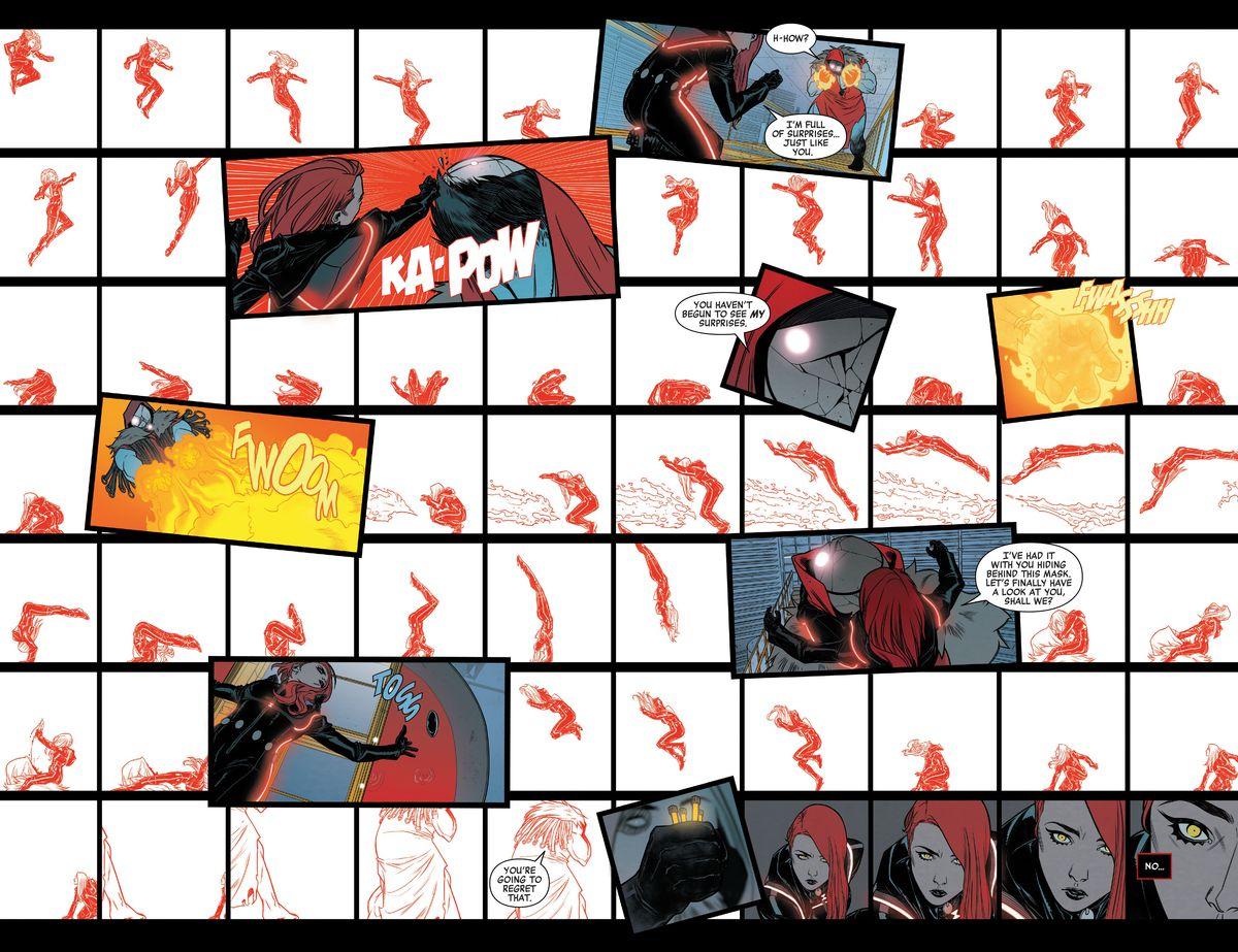 En una cuadrícula de más de 60 paneles blancos y rojos, Black Widow se enfrenta a Apogee en Black Widow # 10 (2021).