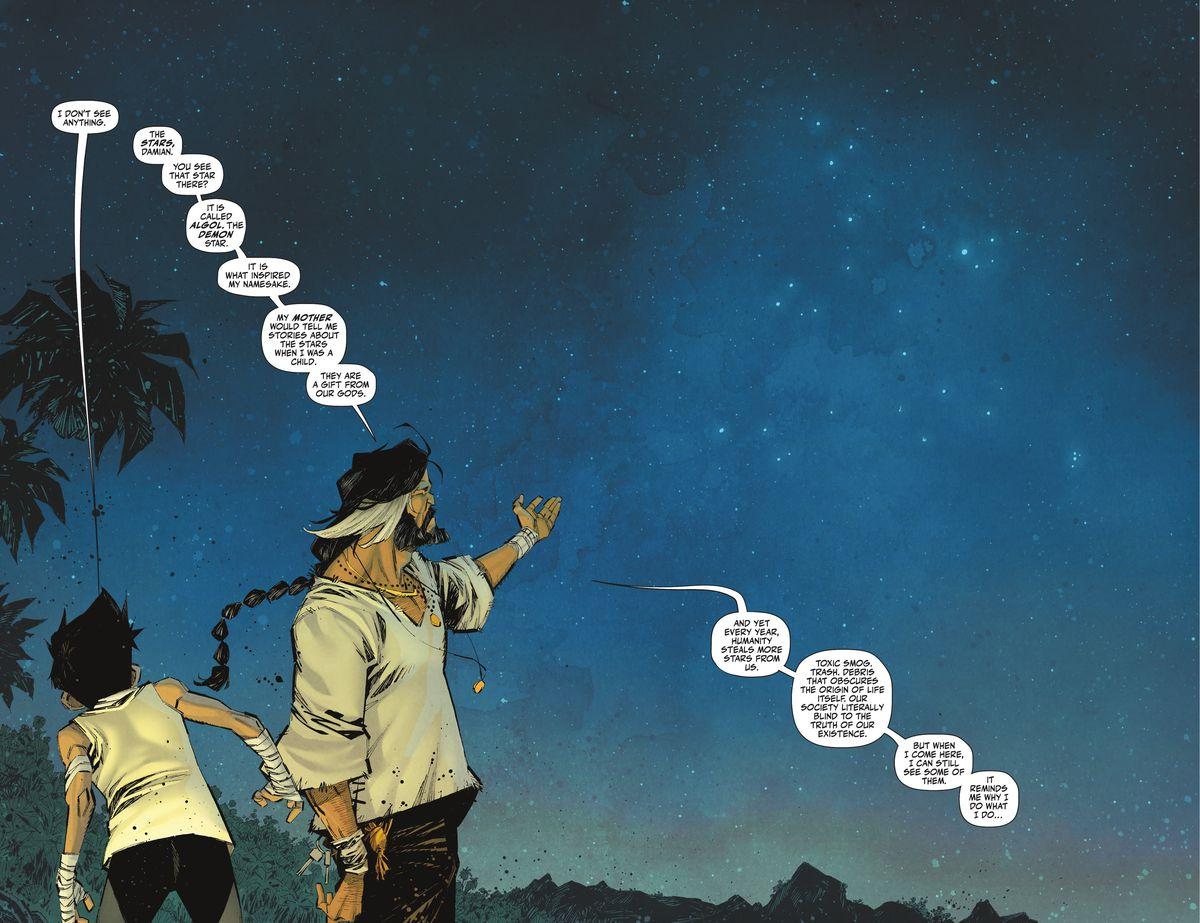 Ra's al Ghul muestra la Vía Láctea sobre su isla remota mientras le explica a Damian Wayne / Robin que la contaminación del cielo por parte de la humanidad es una de las razones por las que busca derribar a la gente en Robin # 4 (2021).