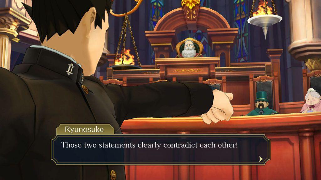 Ryunosuke Naruhodo se dirige a la sala de audiencias en The Great Ace Attorney