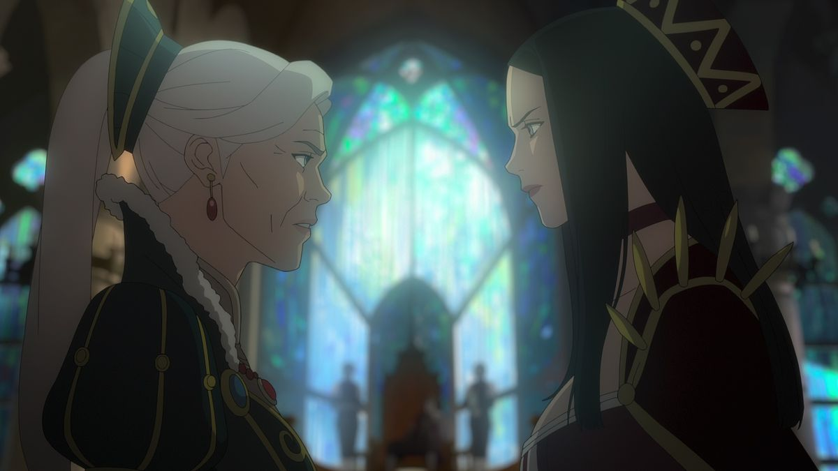 Dos mujeres se enfrentan en una catedral en The Witcher: Nightmare of the Wolf