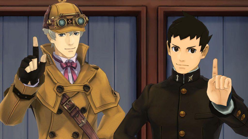 Herlock Sholmes (izquierda) y Ryunosuke Naruhodo (derecha) en The Great Ace Attorney