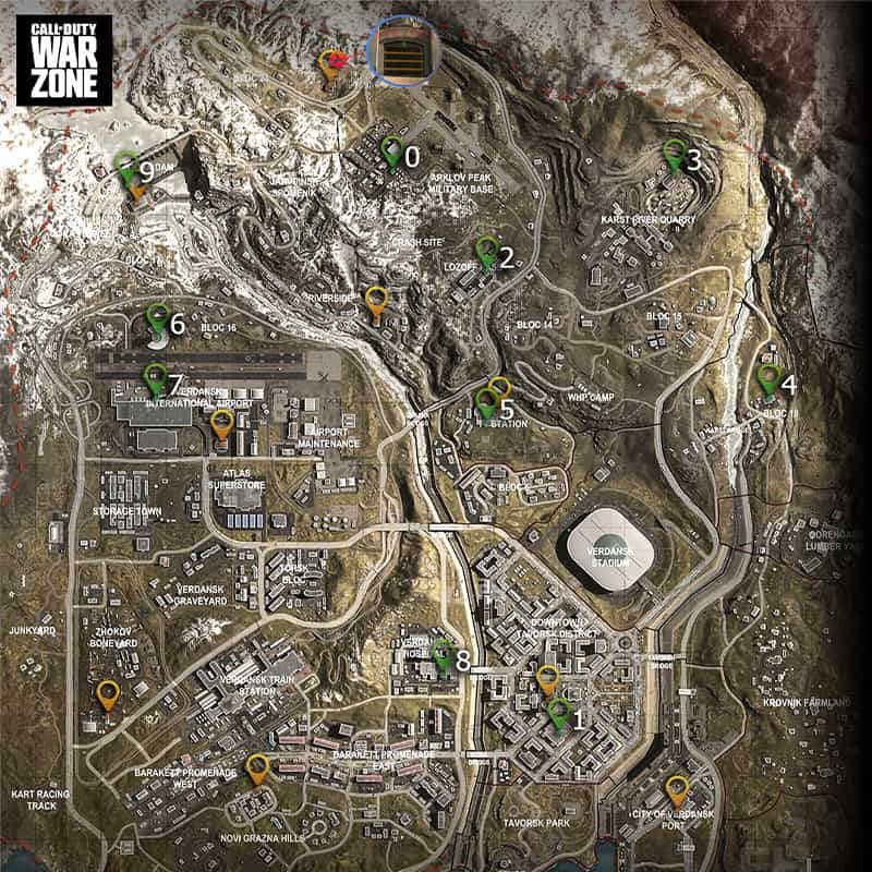 Mapa que muestra la ubicación de los teléfonos en Warzone.